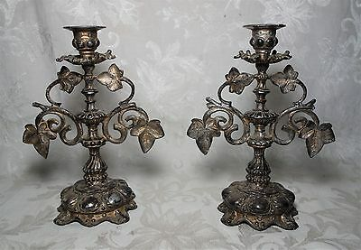 Pair Antique 19th Century Victorian Silverplate Leaf Candlesticks Candle Holders