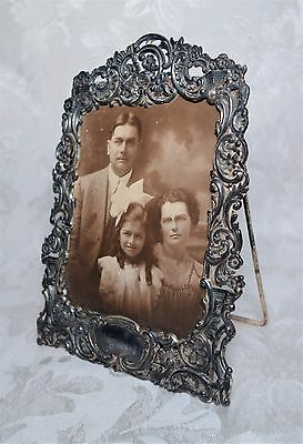 """Antique 19th Century Victorian Silver Plate Picture Frame Ornate Floral 7"""" x 5"""""""