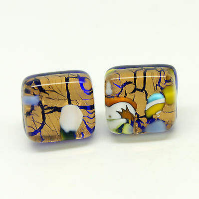 Gold and Multi-Coloured Handmade Authentic Murano Venetian Glass Stud Earrings