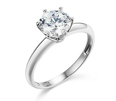 14K Solid White Gold Round Brilliant Cut Solitaire Cubic Zirconia Ring