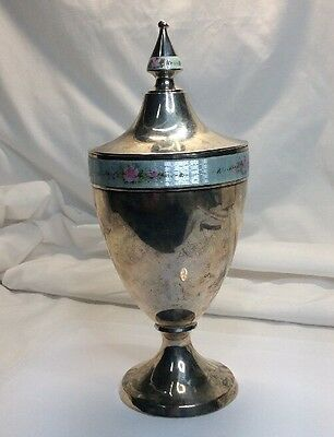 Vintage Sterling Enamel Chalice Gold Wash Inside With Lid (s42)