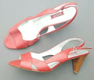 ECCO SANDALS Slingback Red Leather 42 Size 10.5 to 11