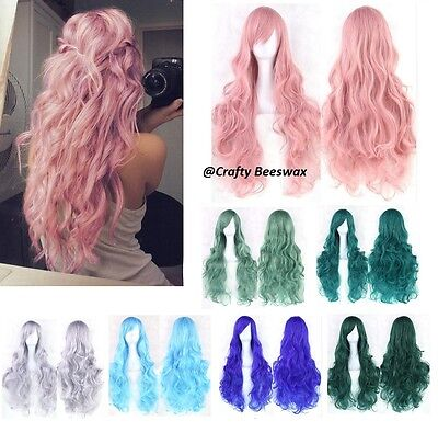 Wavy Anime Cosplay Party Full Head Wig Hair With Bangs 16 Colours
