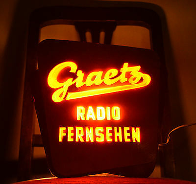 Rare Lighted Advertising Leuchtwerbung Graetz Radio Television Made in Germany