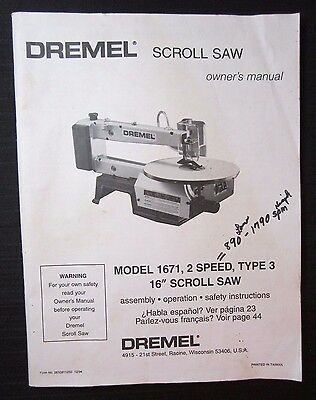 "DREMEL 16"" Scroll Saw Model 1671 Owner Instruction Manual English Spanish French"