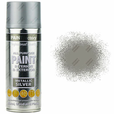 1 x 400ml All Purpose Silver Metallic Aerosol Spray Paint Household Car Plastic