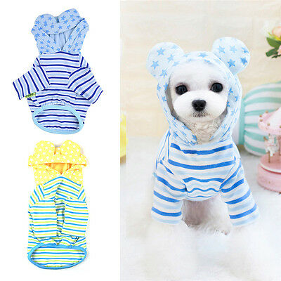 Summer Pet Puppy Small Dog Cat Hoodie Clothes Stripes T Shirt Jumpsuit Apparel