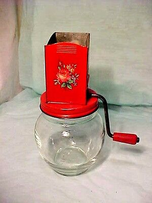 Vintage Tin Top 3 F Androck? A-H Nut Spice Grinder has A inside the H 5935 Glass