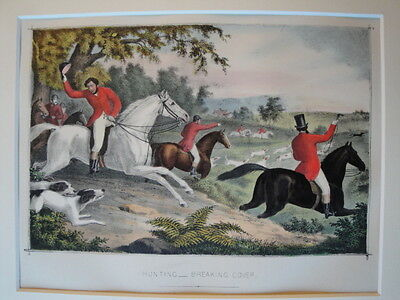 Hunting Breaking Cover Original Hand COLOUR LITHOGRAPH Print c1865 Horse Hound