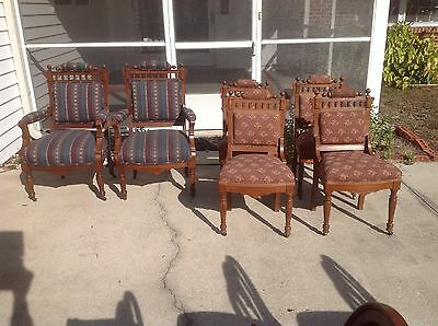 Antique 1870' Victorian Eastlake Renaissance Revival 6 Dining Chairs