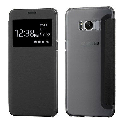 Samsung GALAXY S8 / PLUS Leather Flip Wallet Hard Case View Window Cover BLACK