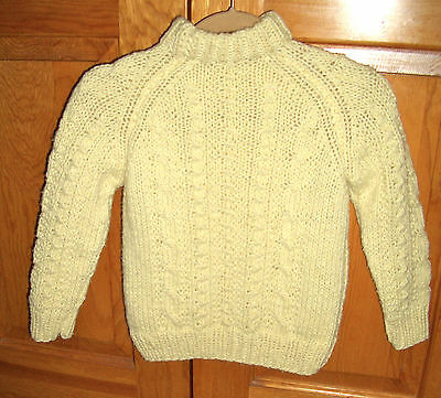 Aran Fisherman wool cable knit Sweater Children's  Size 5-8 Years Ivory handmade