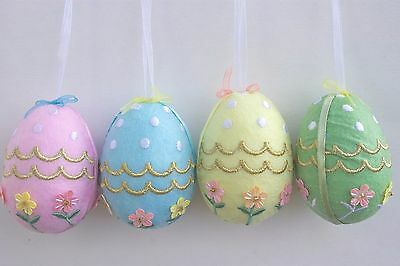 Gisela Graham Easter Pastel Garden Fabric Sequin Egg Decoration X 4