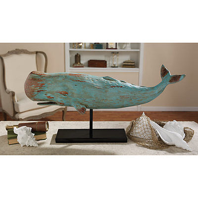 Sperm Whale Distressed Teal Wood Finish Sculpture Home Statue on Metal Mount