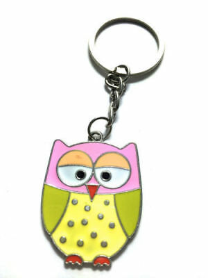 Pink Owl Keyring Charm Handbag Metal Novelty Bag Charms Keychain Christmas Gifts