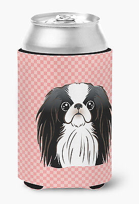 Checkerboard Pink Japanese Chin Can or Bottle Hugger
