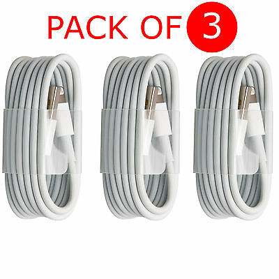 Genuine USB Cable For Apple iPhone 7 6 5 5c iPad Lightning Sync Charger (Pack-3)