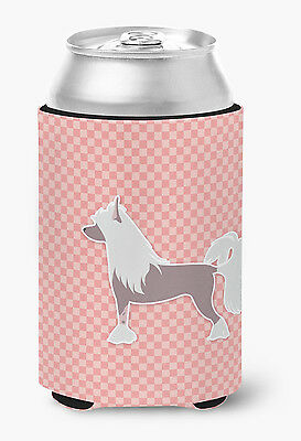 Chinese Crested Checkerboard Pink Can or Bottle Hugger