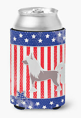 Carolines Treasures  BB3343CC USA Patriotic Chinese Crested Can or Bottle Hugger