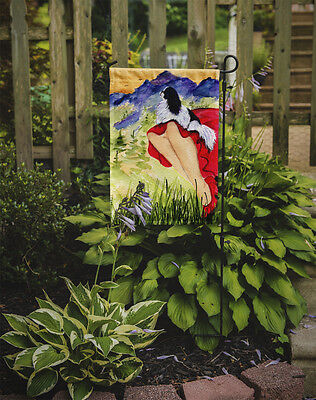 Carolines Treasures  SS8524GF Lady with her Japanese Chin Flag Garden Size