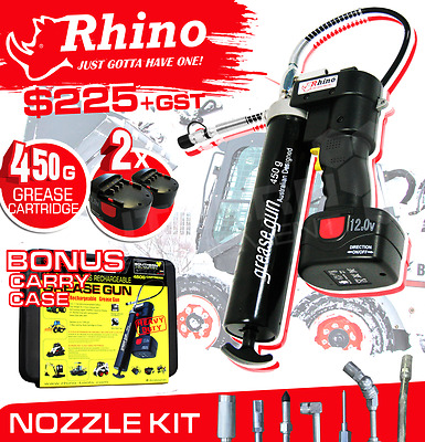 RHINO® Grease Gun Cordless Battery 12v Rechargeable Excavator Skid Steer Tractor