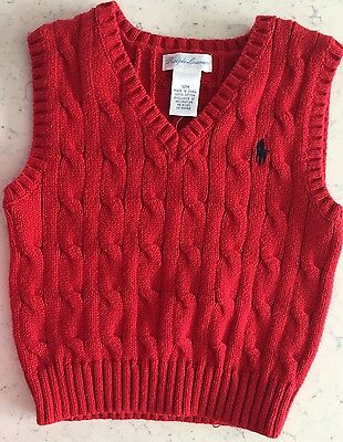 Ralph Lauren Sweater Vest 12 Months Nwt Ralph Red Boy's Pony Cable Knit 12m