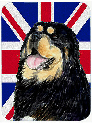 Tibetan Spaniel with English Union Jack British Flag Mouse Pad, Hot Pad or Trive