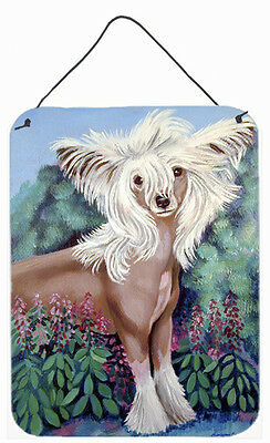 Chinese Crested in flowers Aluminium Metal Wall or Door Hanging Prints