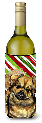 Tibetan Spaniel Candy Cane Holiday Christmas Wine Bottle Beverage Insulator Beve