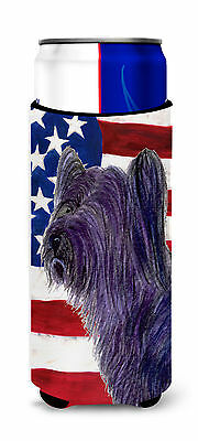 USA American Flag with Skye Terrier Ultra Beverage Insulators for slim cans