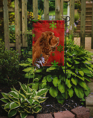 Sussex Spaniel Red Green Snowflake Holiday Christmas Flag Garden Size