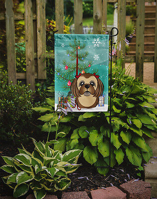 Christmas Tree and Chocolate Brown Shih Tzu Flag Garden Size