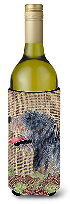 Irish Wolfhound on Faux Burlap with Pine Cones Wine Bottle Beverage Insulator Be