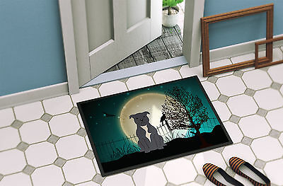 Halloween Scary Staffordshire Bull Terrier Blue Indoor or Outdoor Mat 24x36