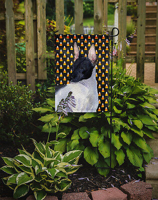 Carolines Treasures  SS4273GF Rat Terrier Candy Corn Halloween Portrait Flag Gar