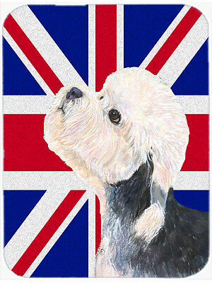 Dandie Dinmont Terrier with English Union Jack British Flag Mouse Pad, Hot Pad o