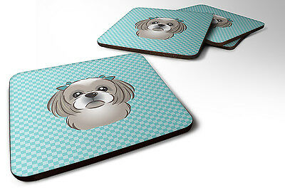 Set of 4 Checkerboard Blue Gray Silver Shih Tzu Foam Coasters