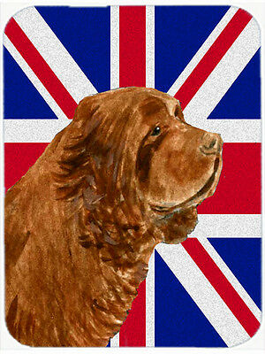 Sussex Spaniel with English Union Jack British Flag Mouse Pad, Hot Pad or Trivet