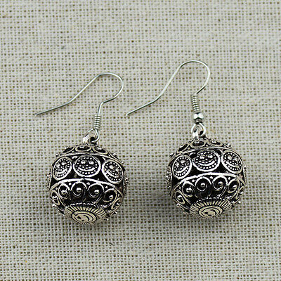 Cute Antique Silver Hollow Out 3D Smile Face Drop Earrings For Women