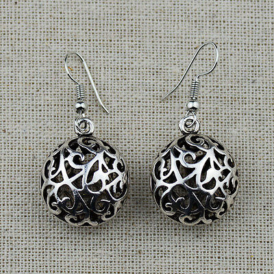 Tribal Antique Silver Vine Hollow Out 3D Round Earrings For Women