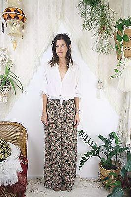 Vintage Wide Leg Trousers, 90s Floral chiffon Culottes, XS Small 4153