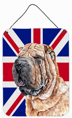 Shar Pei with English Union Jack British Flag Wall or Door Hanging Prints