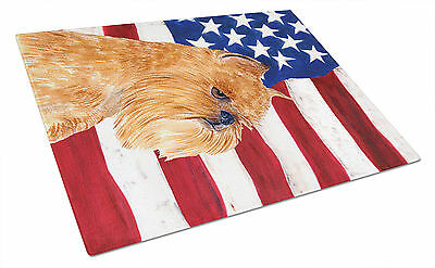 USA American Flag with Brussels Griffon Glass Cutting Board Large