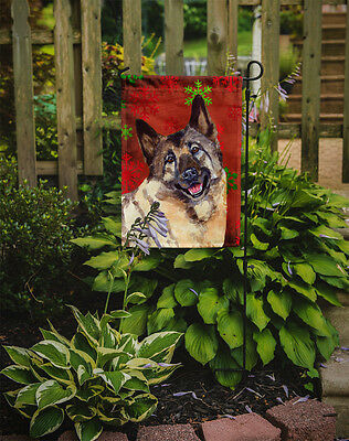 Norwegian Elkhound Red and Green Snowflakes Holiday Christmas Flag Garden Size