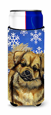 Tibetan Spaniel Winter Snowflakes Holiday Ultra Beverage Insulators for slim can