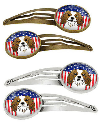 American Flag and Cavalier Spaniel Set of 4 Barrettes Hair Clips