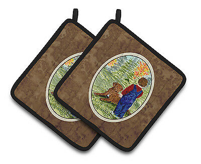 Little boy with his Chesapeake Bay Retriever Pair of Pot Holders