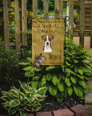 Jack Russell Terrier Spoiled Dog Lives Here Flag Garden Size