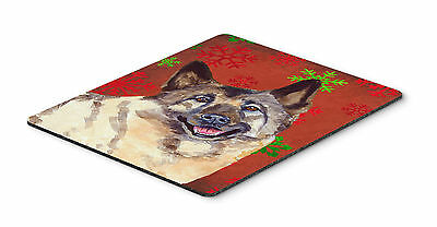 Norwegian Elkhound Snowflakes Holiday Christmas Mouse Pad, Hot Pad or Trivet