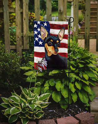 Carolines Treasures  LH9004GF USA American Flag with Min Pin Flag Garden Size